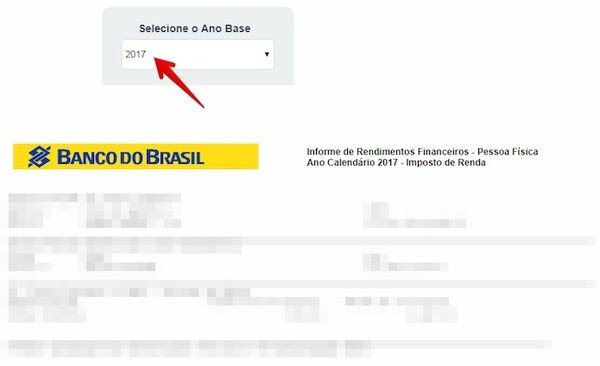 Informe de rendimentos no Banco do Brasil